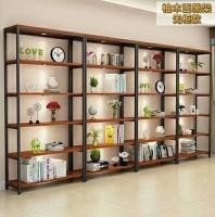 Stable Industrial Metal And Wood Bookcase , Metal And Wood Open Shelving