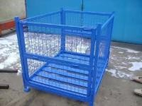 Steel Stackable Storage Cages On Wheels Welded Wire Mesh Structure Durable