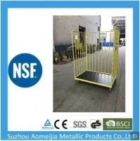 Convenient Handle Caged Trolley On Wheels , Folding Pallet Mobile Cage Trolley