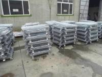Warehouse Shelf Storage Cages On Wheels Galvanized Zinc Surface Easily Folded