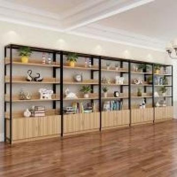 Adjustable Distance Iron And Wood Bookcase , Industrial Wood And Metal Shelves