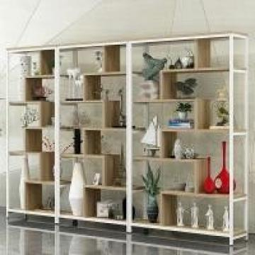 Wood And Black Metal Shelves , Wood And Iron Bookcase Office Furniture Home