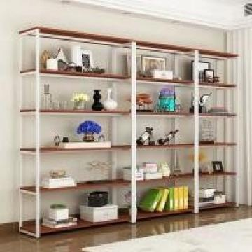 Retail Store Metal And Wood Display Shelves Durable Black Golden White