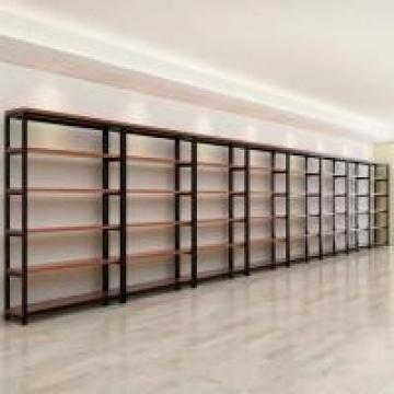 Customized Color Metal And Wood Storage Shelves , Steel And Wood Bookshelf