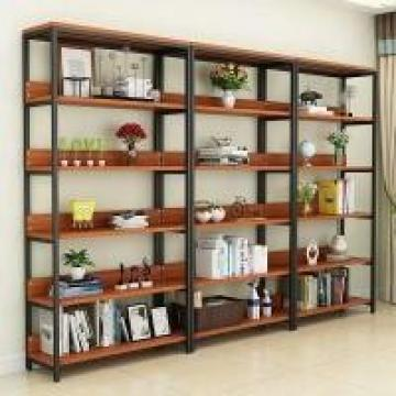 Heavy Duty Metal Frame Wood Shelves Powder Coating Carbon Steel Optional Color