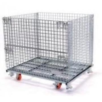 Foldable Stackable Storage Cages On Wheels Galvanized Metal Wire Mesh Pallet