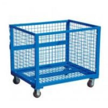 Heavy Duty Storage Cages On Wheels Transportation Silver Color Large Capacity