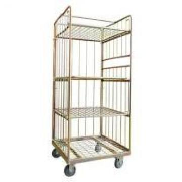 Industrial Galvanized Warehouse Caged Trolley On Wheels , Mobile Cage Trolley