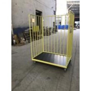 Powder Coating Roller Cage Trolley , Cage Trolley With Shelves Four - Wheel