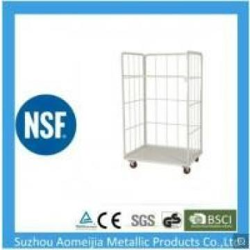 Metal Frame Warehouse Cage Trolley , Heavy Duty Cage Trolley Custom Size