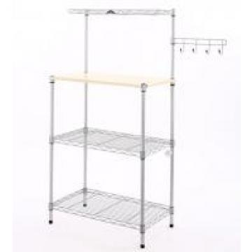 3 Tiers Commercial Shopping Trolley Chrome Metal Wire Kitchen Cart MDF Board