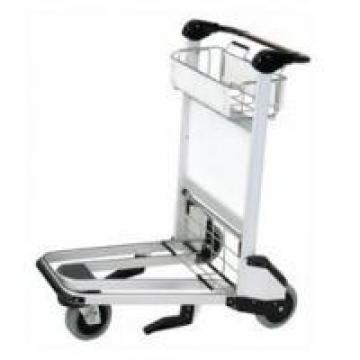 Silver Airport Luggage Trolley Ergonomic Flat Handle With Auto Handle Brake