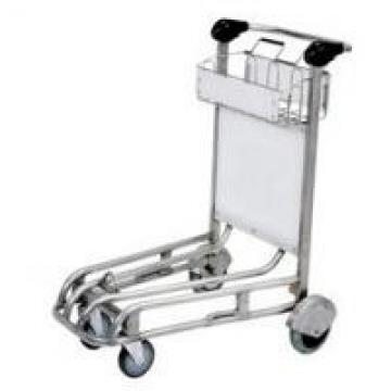 Stainless Steel Airport Luggage Trolley Powder Coating Adjustable Distance