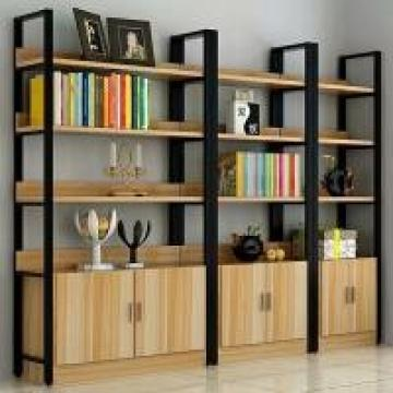 Double-Sided Steel-Wood Bookshelf for Library/Book Shelf/Office Furniture/Booksh