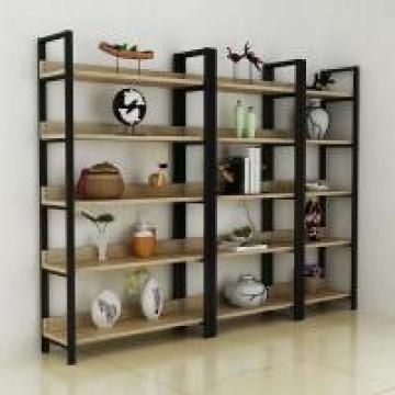 Store Metal Frame Wood Shelves Environmental Friendly Painting Exhibition