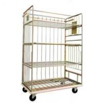 Logistics Cart Roll Metal Cage Trolley Roll Containers Carbon Steel Adjustable