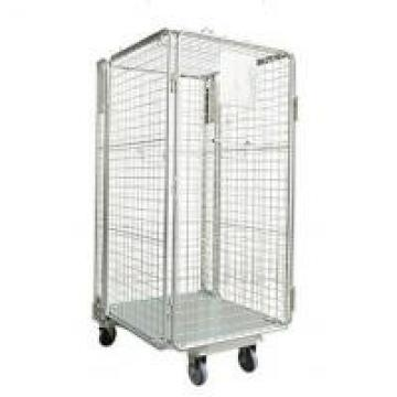 Zinc Chrome Warehouse Cage Trolley , Heavy Duty Cage Trolley Adjustable