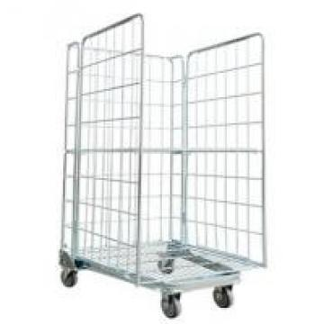 Three Side Powder Coated Warehouse Storage Racks Folding Pallet Logistic Trolley
