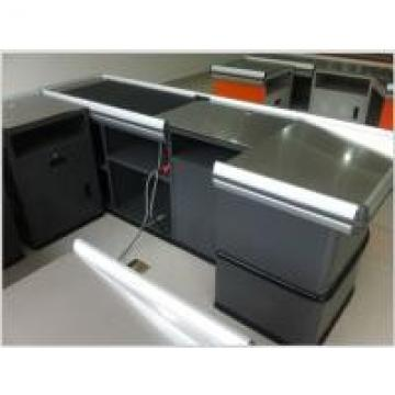 Metal Checkout Desk , Checkout Cashier Counter With Motor Belt For Fast Food